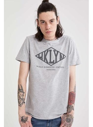 DeFacto Slim Fit Yazı Baskılı Bisiklet Yaka T-shirt Gri